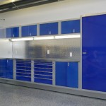 Blue and Grey Garage Cabinets